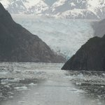 Sawyer Glacier view from 14th-floor deck of cruise ship in May 2014,