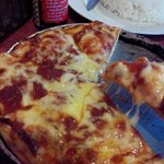 Mozzarella Pizza. Aside from the tough crust, it was actually pretty good. I love mozzarella!