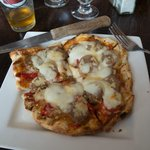 pizzette: sausage, peppers and onion