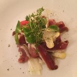 Carpaccio of duck on asparagus - lovely starter