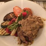 fantastic fillet steak with chunky mushroom sauce.