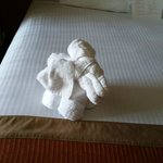 Elephant made out of towels left on bed upon checkin