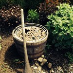 Fountain with corks in the garden