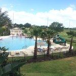 Pool behind villa