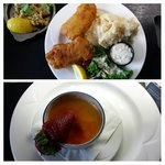 Fish and chips, stuffed mushrooms, and creme brulee