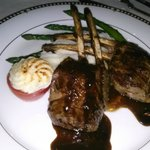 Rack of lamb with tomato tartar and asparagus spears.