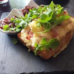 Rarebit with bacon and brie with Gooseberry and spicy Tomato chutney. Absolutely gorgeous, well
