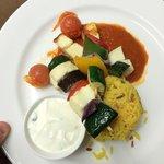 Vegetable and Holoumi kebab, Saffron rice, minted creme fraiche dip