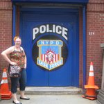 My daughter across street @ Police Station
