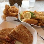 Excellent rueben onion rings & fish n chips
