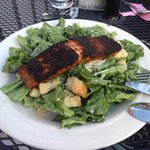 Cesar Salad with Blackened Salmon. Salmon was thick and perfectly cooked, moist on the inside. Y