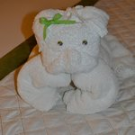 towel friend on bed