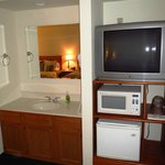 Vanity, TV, microwave, fridge