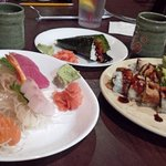 Combo Sashimi Regular, Eel Hand Roll, Dragon Roll, Eel Lovers Roll