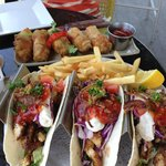 Fish tacos and lobster spring rolls