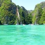 Phi Phi Island tourist boats mooring at beach