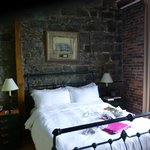 Nice stone walls and post and beam high ceilings