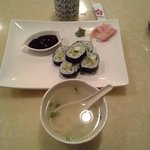 Miso Soup and Vegetable Roll and Green Tea