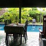 Poolside breakfast area