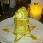 triple layer puff pastry coconut creme pie drizzled with lemon caramel