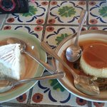 Tres leches and flan