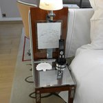 bedside table with drawings