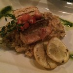Salmon with lemon and boletus risotto