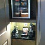 Locked minibar with no extra space, espresso maker, tea facilities