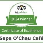 Sapa O'Chau Café Certificate of Excellence 2014