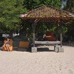 Beach loungers and Gazebo on beach
