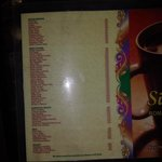 menu in the veg restaurant