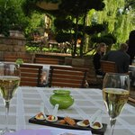 appetizer on the terrace aside the river l'Ill