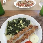 Skewers (+potatoes spinach) and octopus salad