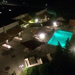 Night view of hotel pool