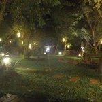 Am Fluss im Garten bei Nacht