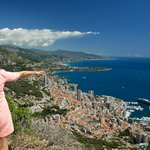 Ingrid pointing out the sites of Monte Carlo