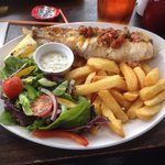 Monkfish Tail with Chorizo and Thyme butter served with salad and chips and home made tartare sa