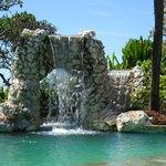 hotel pool waterfall