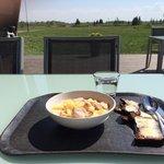 Salmon soup on a sunny day