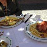 Grilled fish, pork shoulder