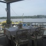 Nice decorated table on the front terrace near Danube river, nice for dinner or lunch with frien
