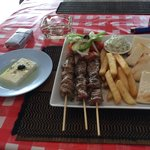 Greek Souvlaki platter with Authentic feta cheese!
