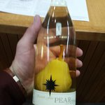 Pear in a bottle at the wine tasting