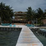 a look from the end of the pier toward the Island Magic Resort