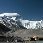 Everest Base camp, we can the Expedition Camps/Tents