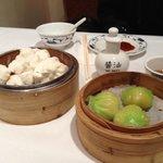 Wasabi prawn dumplings and char sui bao