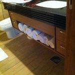 Organizado, limpo e com toalhas disponíveis