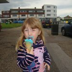 my little girl with bubble gum ice cream