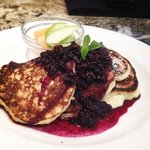 Dolcetto's Ricotta pancakes served with a house made blueberries compote. Served during Sunday b