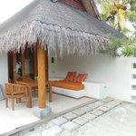 Outdoor sitting area beach pavilion